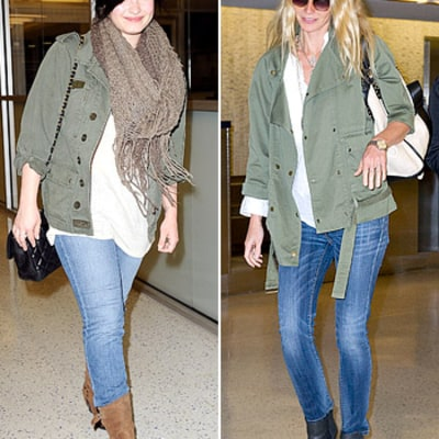 Gwyneth Paltrow, Demi Lovato Bond Over Matching Outfits on Plane