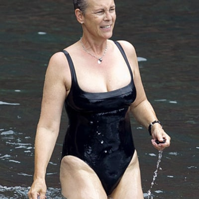 Jamie Lee Curtis Wears Low-Cut Black Swimsuit at Age 54