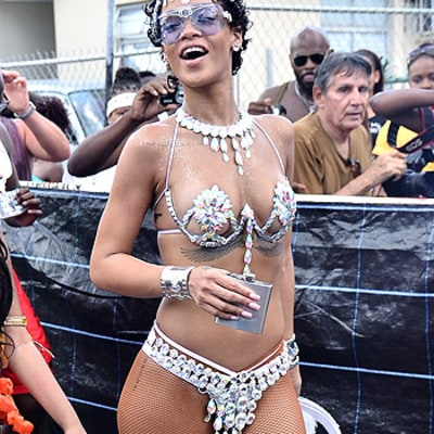 Rihanna Risks Nip Slip in Bejeweled Bikini, Drinks During the Day
