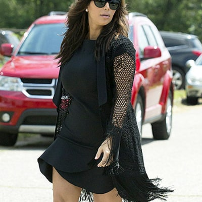 Kim Kardashian Reveals Svelte Post-Baby Body in Short Dress, Carries Baby North West: Pictures