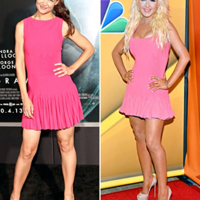 Christina Aguilera and Katie Holmes Wear Same Pink Dress: Who Wore It Best?