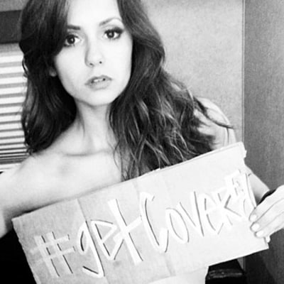 Nina Dobrev Goes Topless to Support Obamacare!