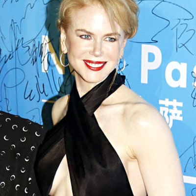 Nicole Kidman Wears Risque Halter Dress, Flashes Cleavage at Event in China