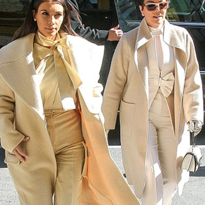 Kim Kardashian, Kris Jenner Wear Matching All-White Outfits to Lunch in NYC: Picture