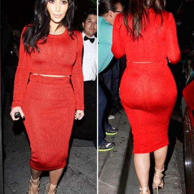 Kim Kardashian Shows Off Booty in Curve-Hugging Red Skirt, Breaks Diet at Girls' Dinner