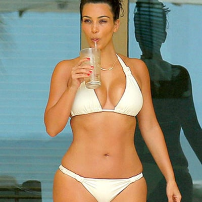 Kim Kardashian Rocks Sexy White Bikini on Second Honeymoon With Kanye West in Mexico: Picture