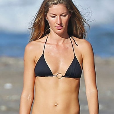 Gisele Bundchen Shows Off Skinny, Toned Body in Tiny Black Bikini
