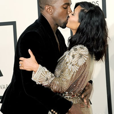 Kanye West Grabs Kim Kardashian's Ass on the Red Carpet: See Their Frisky PDA at the 2015 Grammys