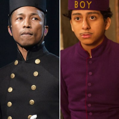 Pharrell Williams Channels Grand Budapest Hotel Lobby Bellboy in 2015 Grammys