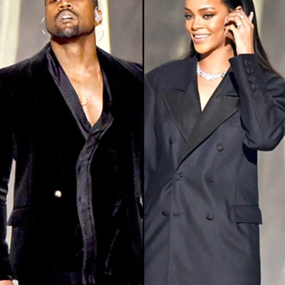Rihanna, Kanye West Perform Together in Cleavage-Baring Blazers at the 2015 Grammys: Who Wore It Best?