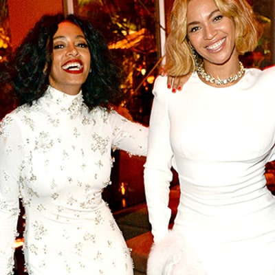 Beyonce, Solange Knowles Hit the Oscars Afterparty in Matching White Dresses: See Their Twinning Style!