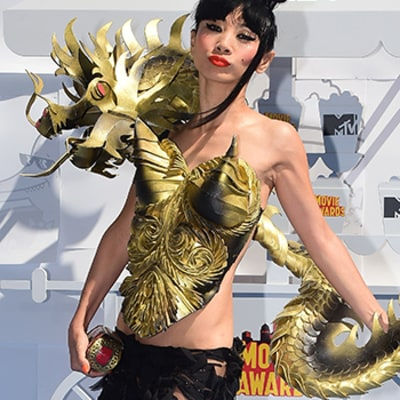 MTV Movie Awards 2015 Red Carpet: Check Out Bai Ling's Over-the-Top Dragon Outfit
