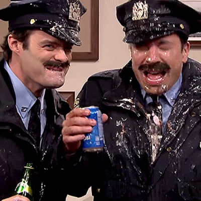 Bill Hader, Jimmy Fallon Spit Food, Sparkling Water All Over Each Other in Funny Point Pleasant Police Department Sketch: Watch the Video