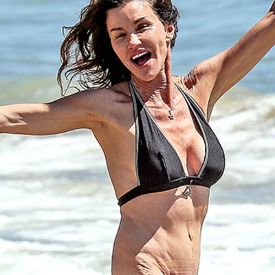 Janice Dickinson, 60, Gets Her Groove on in a Black Bikini: See Her Frolicking in Photos!