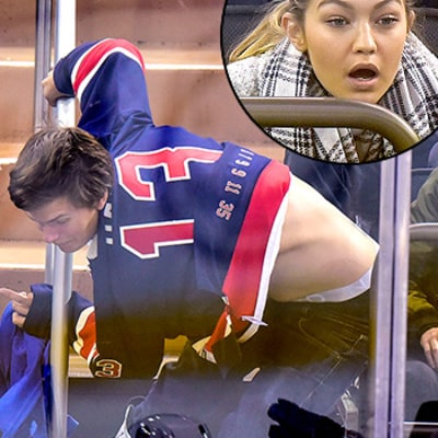 Ansel Elgort Wipes Out at Hockey Game, Falls in Front of Joe Jonas, Gigi Hadid: Photos!