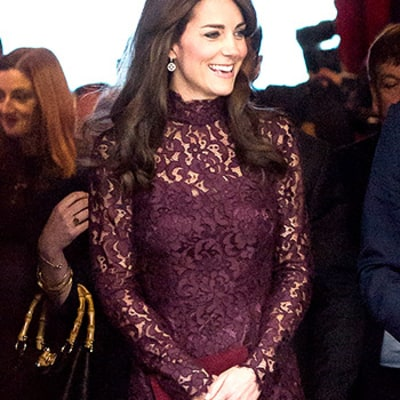 Kate Middleton Is Pretty in Plum Lace at Event With Prince William, Jackie Chan: Photos