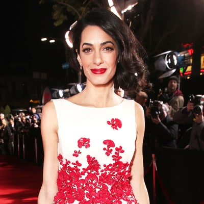 Amal Clooney Wears Faux Bob on the Red Carpet With George Clooney