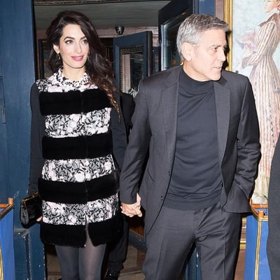 Pregnant Amal Clooney Wears Floral-Print Minidress for Date Night With Husband George