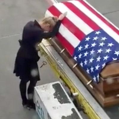 Army Widow Breaks Down Over Fallen Husband's Coffin in Heartbreaking Video She Wanted Shared