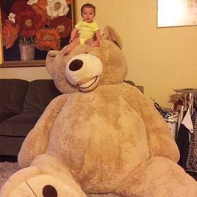Twitter Is Losing It Over This Baby and Her Gigantic Costco Teddy Bear