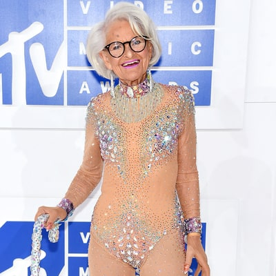 Social Media Star Baddie Winkle Channels Britney Spears at the MTV VMAs 2016 in Sparkly Nude Bodysuit