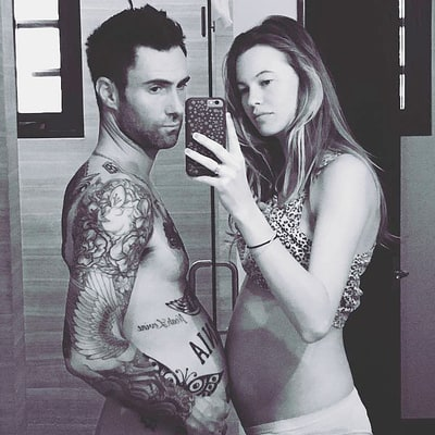 Shirtless Adam Levine Jokes He's 'Pregnant Too' Alongside Wife Behati Prinsloo — See the Seriously Cute Photo