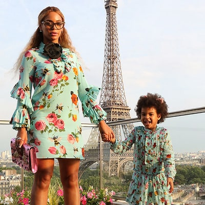 Beyonce and Blue Ivy Wear Matching Dresses to Jump in Front of the Eiffel Tower