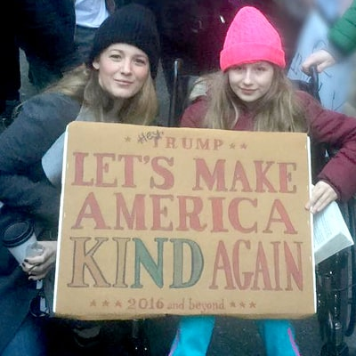 Blake Lively Joined Women's March in NYC 'For My Daughters'