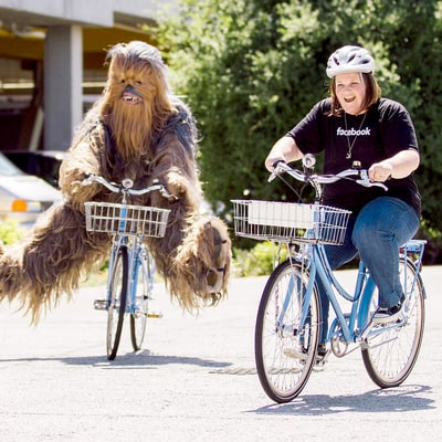 Chewbacca Mom Rides a Bike With Beloved 'Star Wars' Character at Facebook Headquarters