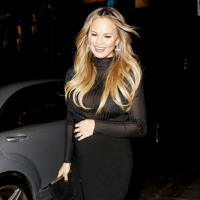 Pregnant Chrissy Teigen Wears See-Through Top and Skintight Skirt on Date Night With John Legend