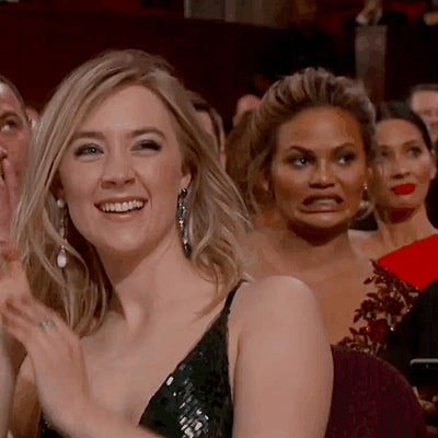 Chrissy Teigen Cringes During Stacey Dash's Awkward Oscars 2016 Stint: GIF!