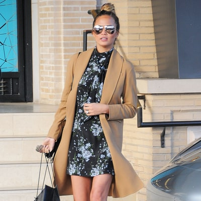 Pregnant Chrissy Teigen Shows Off Her Long Legs in a Floral Mini: Plus, Get One of Her Best Maternity Looks for Less!