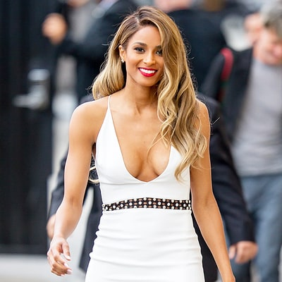 Ciara Makes Jaws Drop in Plunging White Dress With Thigh-High Slit