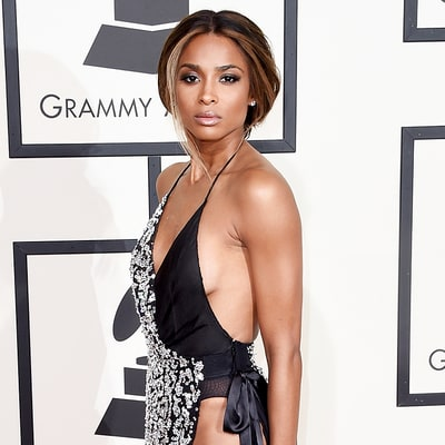 Ciara Turns Heads in Sexy High-Slit Black and White Dress at Grammys 2016: See the Gorgeous Photos