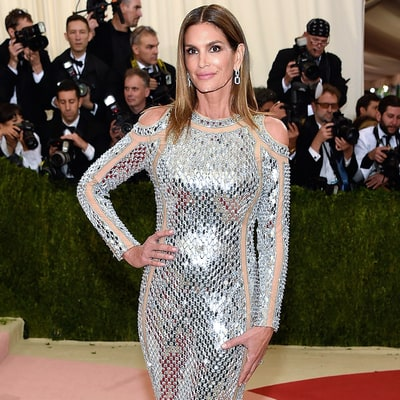 Cindy Crawford Sizzles in Body-Hugging Sheer-Paneled Gown for 2016 Met Gala