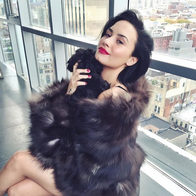 Demi Lovato Sparks Outrage While Cuddling With Her Dog in What Appears to Be a Fur Coat: Pic