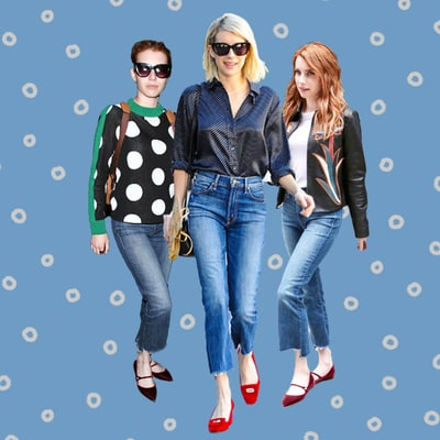 Emma Roberts Can't Stop Wearing These Cropped Flare Jeans
