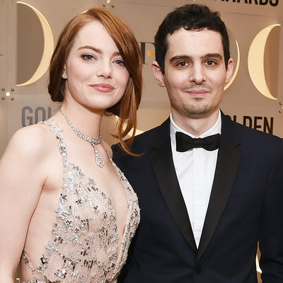 Emma Stone's Hug With 'La La Land' Director Damien Chazelle and His Girlfriend Rules the 2017 Golden Globes — Watch the Awkward Moment
