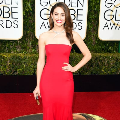 Emmy Rossum Makes a Statement With Her Retro Red Lip, Dramatic Eye Makeup at the Golden Globes 2016