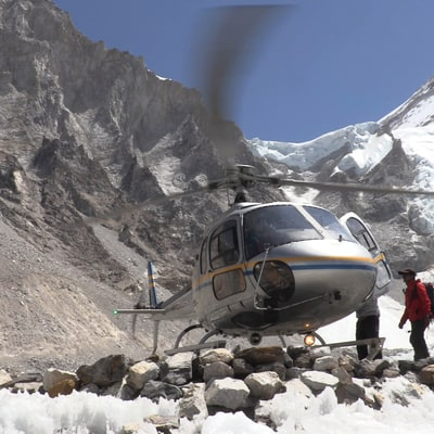 Riding Shotgun with an Everest Helicopter Rescue Team