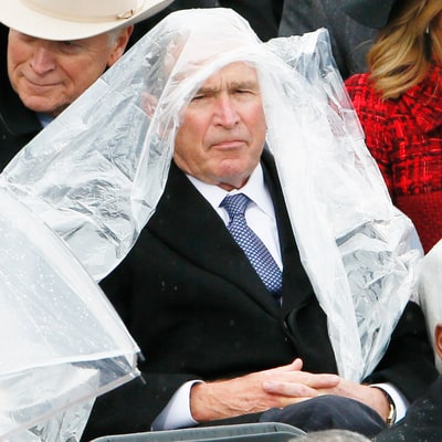 George W. Bush Just Can't With His Poncho During Inauguration — Read the Internet's Hilarious Reactions