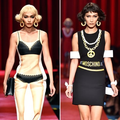 Gigi and Bella Hadid Turn Into Real-Life Paper Dolls for Moschino