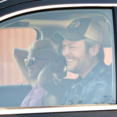 Blake Shelton Gives Smiling Gwen Stefani and Her Kids a Ride to the Park: See the Pics