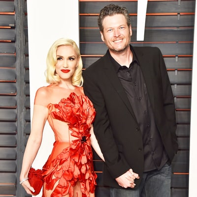 Gwen Stefani Is Red Hot in a Sheer Scarlet Dress With Blake Shelton at the 'Vanity Fair' Oscars 2016 Party