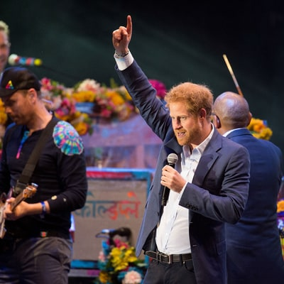 Prince Harry Joins Coldplay on Stage During HIV Charity Concert: Pics