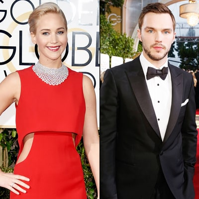 Jennifer Lawrence, Nicholas Hoult Reunite at the Golden Globes 2016