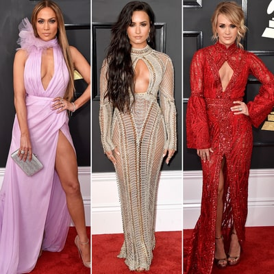 2017 Grammys Peekaboo Style: J. Lo, Carrie Underwood and Demi Lovato Stun in Keyhole Dresses