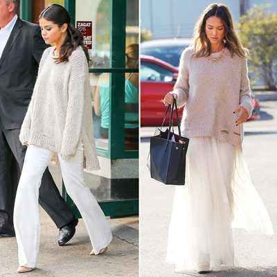 Selena Gomez and Jessica Alba Wear Same Chunky Knit in Completely Different Ways: Who Wore It Best?