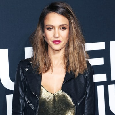 Jessica Alba Toughens Up a Metallic Maxi Dress With a Leather Jacket