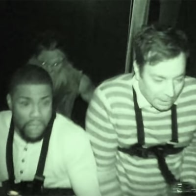 Kevin Hart and Jimmy Fallon Get Seriously Spooked as They Scream and Fart Their Way Through a Haunted House: Watch